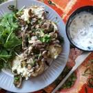 Pommes de terre farcies au Skyr et aux champignons